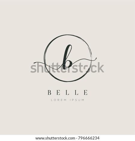 Simple Elegant Letter B With Circle Brush Logo Sign Symbol Icon Stock fotó ©