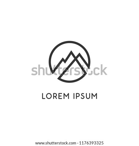 Simple elegant mountains logo for branding identity. Vector image.