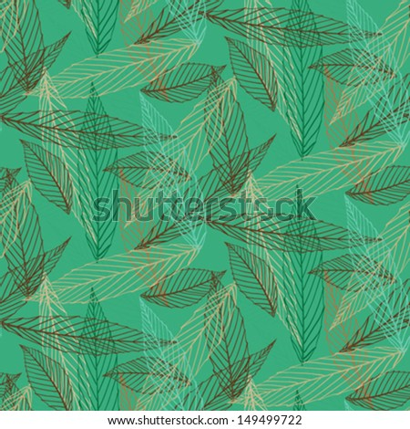 Simple elegant pattern with leafs drawn in lines in green color. Seamless vector texture for web, print, wallpaper, holiday wrapping paper, summer fashion decor, card invitation or website background - Shutterstock ID 149499722