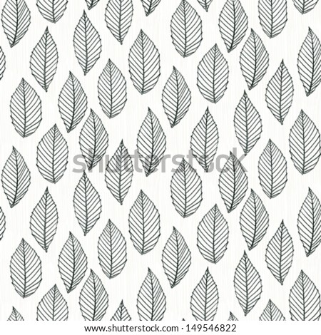 Simple elegant pattern with leafs drawn in thin lines in black on white. Seamless vector texture for web, print, wallpaper, wrapping paper, fall fashion decor, card invitation or website background