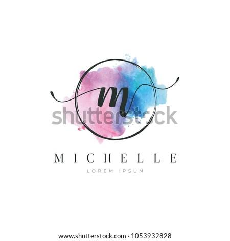 Simple Elegant Water Color Letter Type M Logo Sign Symbol Icon