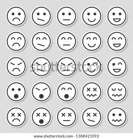 Simple emotion icons. Emotion stickers in  flat style isolated on gray background.