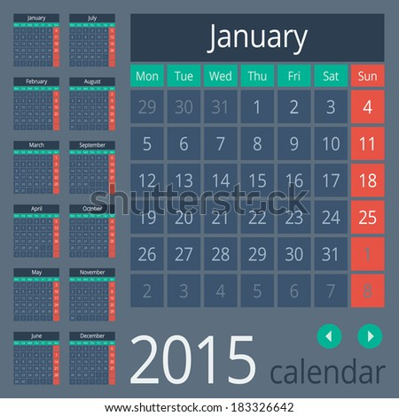 Simple european calendar grid for 2015 year Clean and neat Only plain colors easy to recolor Vector illustration
