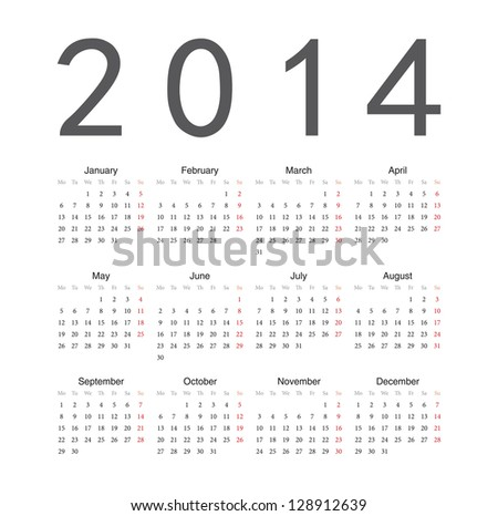 Simple european 2014 year vector calendar Сток-фото ©