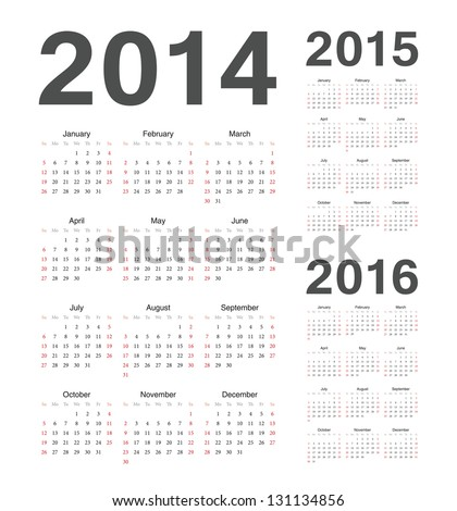Simple european 2014 2015 2016 year vector calendars