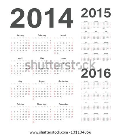 Simple european 2014, 2015, 2016 year vector calendars Сток-фото ©