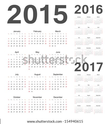 Simple european 2015 2016 2017 year vector calendars