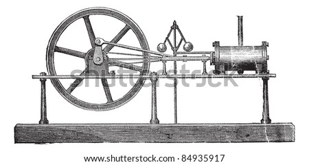 Simple Expansion Steam Engine, vintage engraved illustration. Trousset encyclopedia (1886 - 1891).