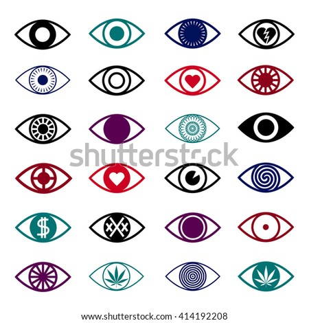 simple eye icons set triangle