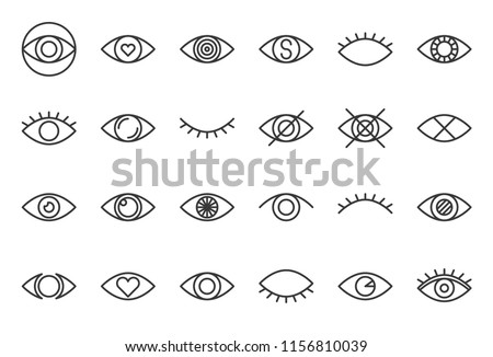 simple eye outline icon, pixel perfect