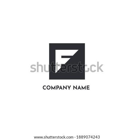 Simple F Logo, Geometric F Branding Vector Foto stock ©