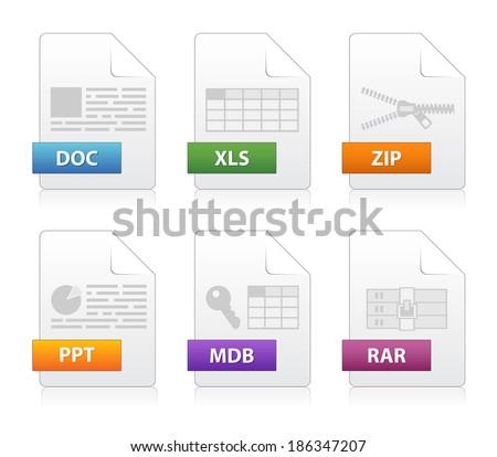 Simple file labels icon set