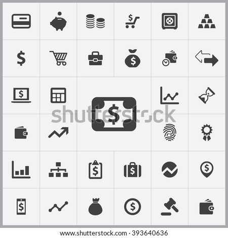 Simple finance icons set. Universal finance icons to use for web and mobile UI, set of basic UI finance elements