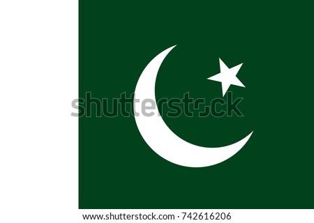 Simple flag of Pakistan. Pakistani flag. Correct size, proportion, colors