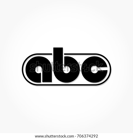 simple flat black ABC logo vector