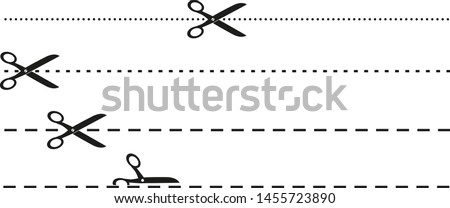 simple flat black and white scissors and dotted or dashed perforation line icon vector illustration