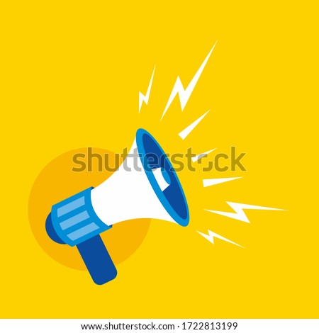 Simple Flat Blue Speaker Toa Megaphone Illustration Design on Yellow Background Template Vector