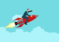 Simple flat business vector illustration of a businessman on a rocket