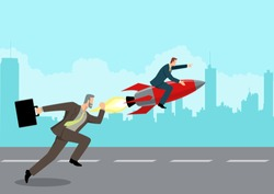 Simple flat business vector illustration of a running businessman racing with a businessman on rocket