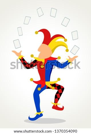 Simple flat cartoon of a joker juggling cards