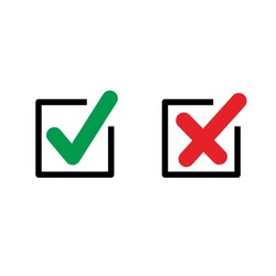 Simple Flat Checkbox Icon Illustration Design, Red and Green Check Mark Template Vector