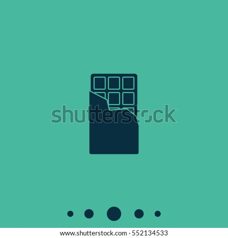 Simple flat chocolate bar icon isolated on green background. Snack pictogram.