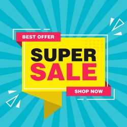 Simple Flat Colorful Super Sale Sign Callout Shape Banner Design, Discount Banner Template Vector for advertising, social media, web banner