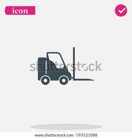 Simple flat fork lift truck vector icon.  Car loader illustration.