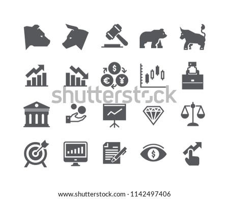 Simple flat high quality vector icon set,Stock Exchange Bear Bull and Finance and Graph Analytics and more. 48x48 Pixel Perfect.