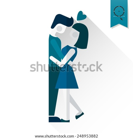 Simple Flat Icon for Valentines Day Wedding Love and Romantic Events Vector