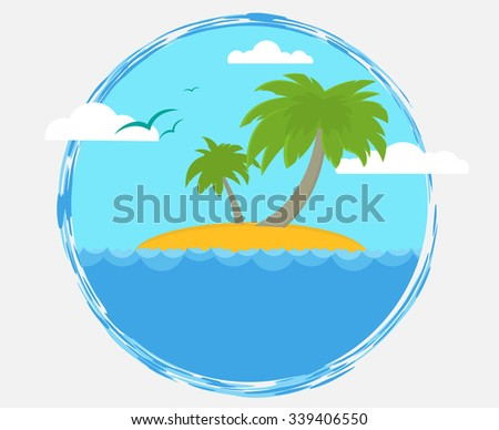 simple flat label with tourist