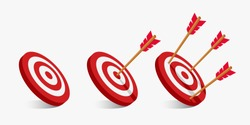 Simple flat minimalist arrow and target illustration. archery targets with a variety of shots. The arrow that pierced right in the middle of the target. A failed arrow miss hits the bullseye.