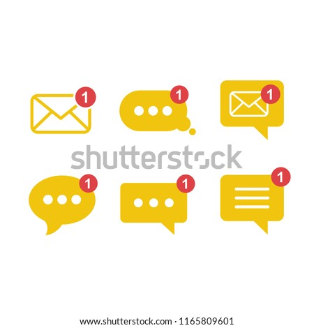 Simple flat minimalist incoming new chat box messages app vector icon with notification