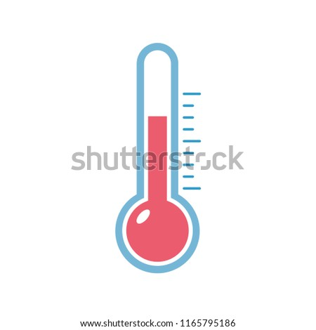Simple flat minimalist thermometer icon with red indicator to measure heat degree