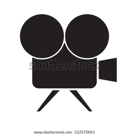 simple flat movie camera icon