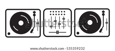 Simple flat outlined dj turntables illustration, grayscale on white background