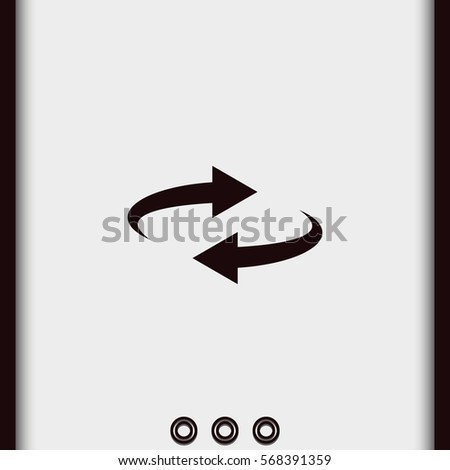 Simple flat reset button, reload arrows symbol. Spin illustration. #568391359