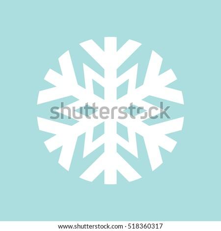 Simple flat snowflake icon, white on blue background