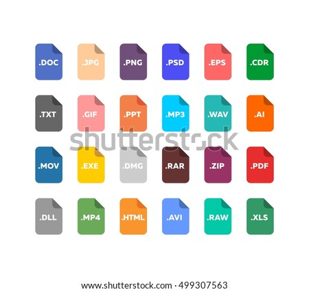 Simple flat style file type / extensions icon set