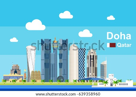 Simple flat-style illustration of Doha city in Qatar and its landmarks. Famous buildings and tourism objects such as Katara Cultural Village included.