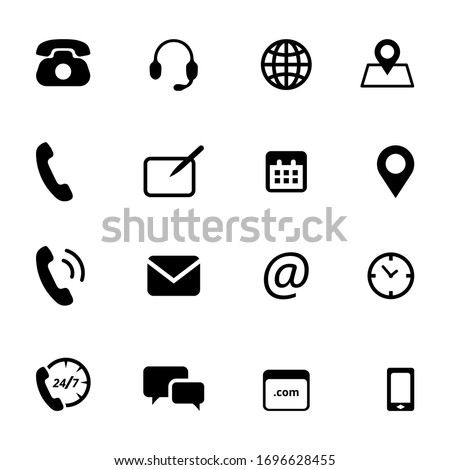 Simple flat vector black and white icons set on white background. Contact. Send message and receive notification. GPS and call. Different office needs icons set