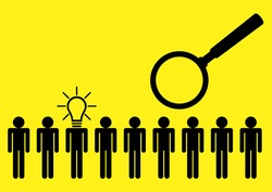 Simple flat vector illustration of human figure with light bulb head among other individuals, standout, leadership and excellence concept