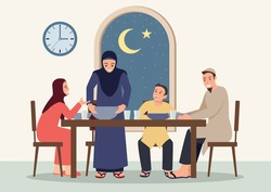 Simple flat vector illustration of Suhoor and Iftar with family during Ramadan month, happy fasting for moslem, Ramadan kareem and Eid Mubarak