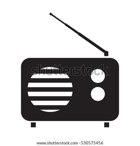 Simple flat vintage radio icon, grayscale on white background