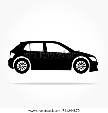 simple floating hatchback car icon viewed from the side colored in flat black with detailed rims and drop shadow