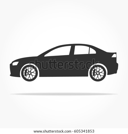 simple floating sedan car icon viewed from the side colored in flat black with detailed rims and drop shadow