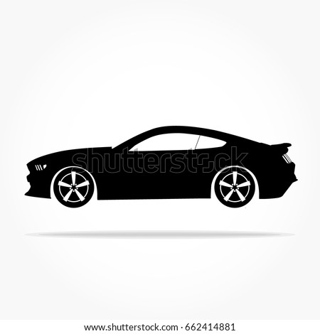 simple floating sports car icon viewed from the side colored in flat black with detailed rims and drop shadow