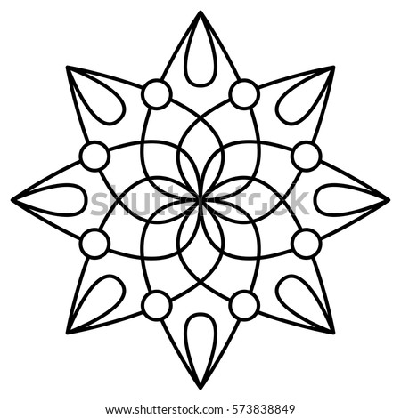 Simple floral mandala pattern for coloring book pages, tattoo prints and decorative stamps. Easy design to color for kids & beginners.