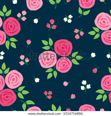 Simple floral seamless pattern with hand drawn roses for textile, wallpapers, gift wrap and scrapbook. Dark background. Vector illustration.