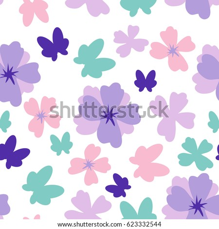 Simple flower and butterfly seamless pattern on white background. Vector illustration for your designs. Print, poster, decoration, wallpaper, wrapping paper.